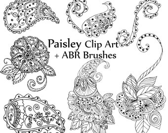 "Paisley clipart: ""PAISLEY DIGITAL STAMP"" Paisley Doodles clipart Photoshop Brushes Paisley Patterns Flourish doodle hand drawn doodle"