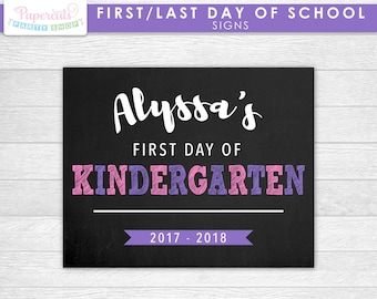 Personalized First and Last Day of School Signs | Purple Pink | Personalized | Printable DIY Digital File