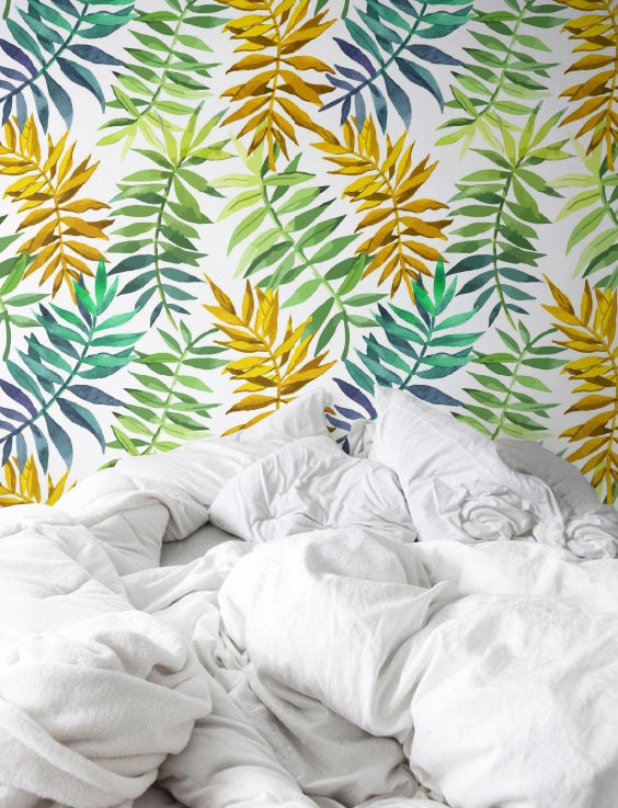 Watercolor Jungle Leaves Wallpaper Removable Wallpaper