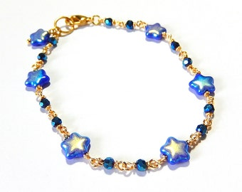 Blue Star Bracelet, Gold Wire Wrapped Celestial Jewelry