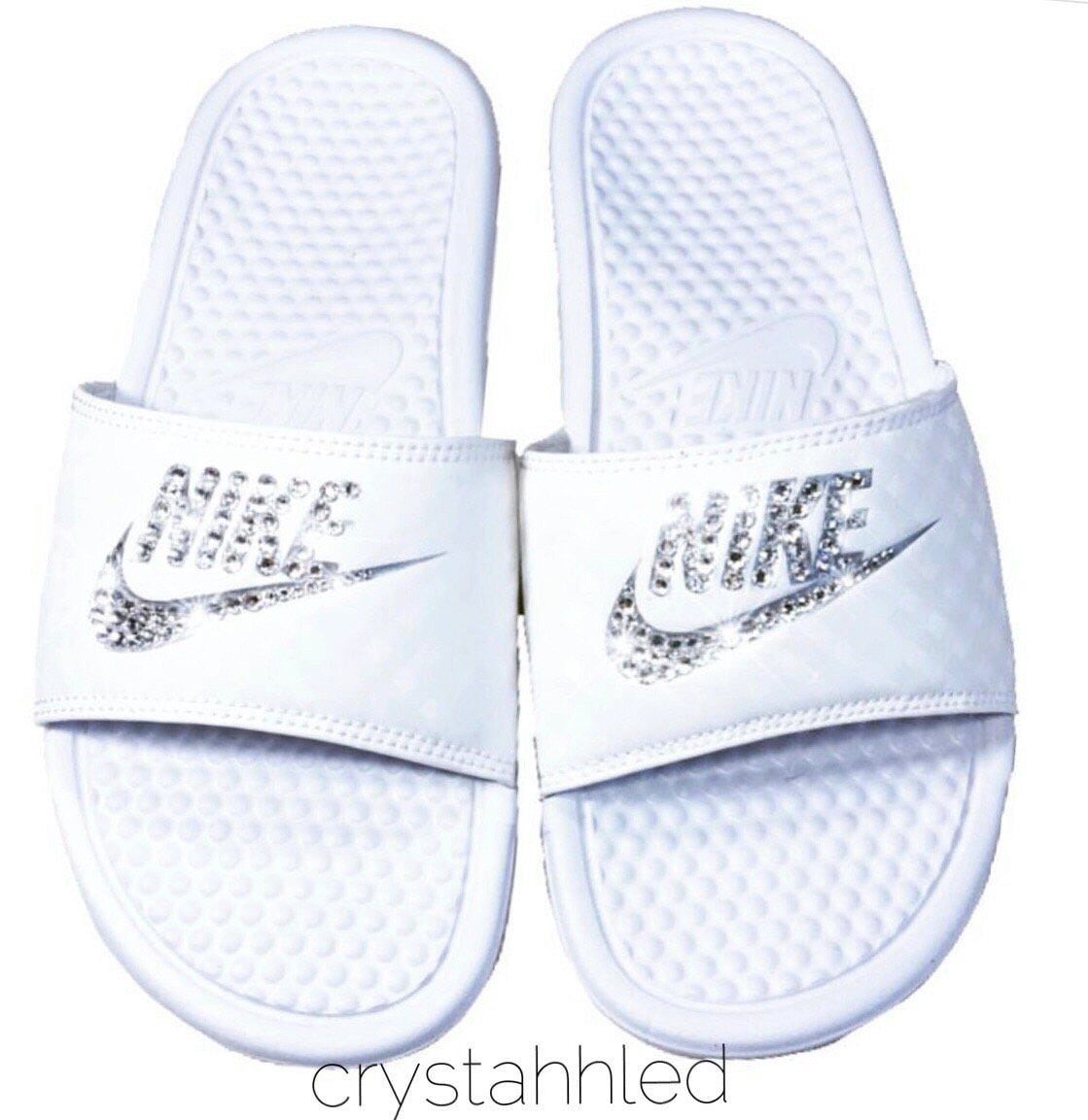 Women s Nike Benassi JDI Slide in all white with Swarovski ee8e484199