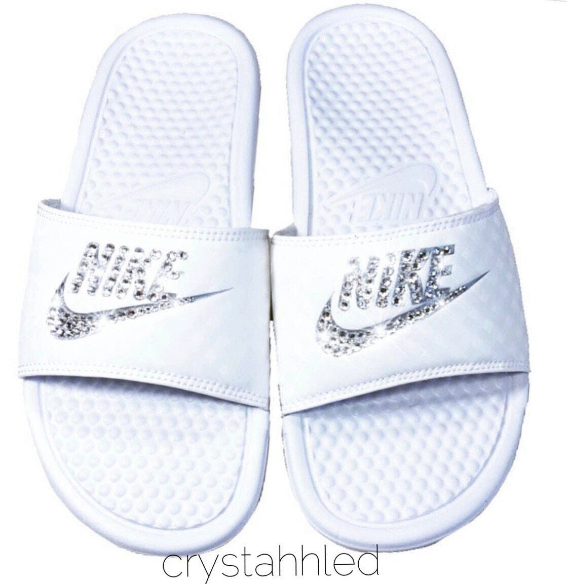 Women s Nike Benassi JDI Slide in all white with Swarovski 8e5c21d0feff