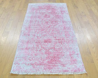 "2'7""x5'10"" Runner Wool and Silk Broken Persian Design Tone on Tone Rug"