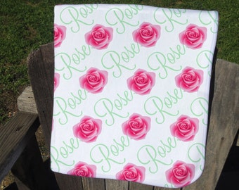 Personalized Baby Blanket with Roses - Rose Receiving Blanket - Rose Name Blanket for Girls - Flower Newborn Swaddling Blanket