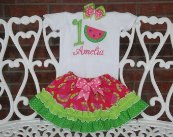 Watermelon Birthday Outfit! Watermelon First Birthday Outfit! Summer Birthday Outfit/Pink Watermelon Outfit/Girls Watermelon Outfit/Skirt