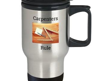 Carpenters Rule Travel Coffee Mug - Gift for Carpenter - Fathers Day Gift Idea - Carpenter Folding Ruler - Carpenter Tools