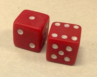 Vintage Pair Red Dice from Old Store 16mm