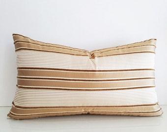 Gold Striped Pillows, Cream Gold Pillows, Textured Pillows, Gold Silk Pillows Decorative Pillows, Metallic Pillow, 12x20, PillowThrowDecor