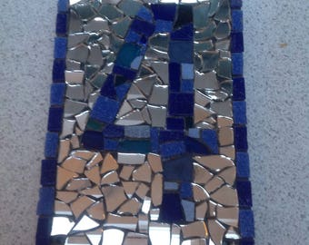 Unique handmade recycled mirror and mosaic house number on slate, ideal for house warming or new home gift.