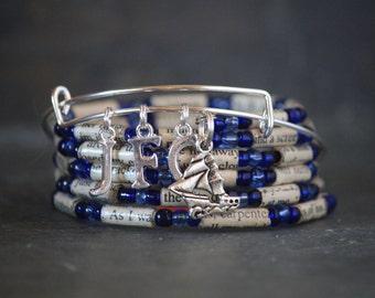 Outlander - Diana Gabaldon - nautical - bracelet - gift set - Voyagrer - charm bracelet -book page bracelet - upcycled - book - bracelet
