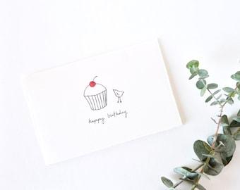 Simple Birthday Card - Cute Bird and Cupcake Drawing - Happy Birthday Bird