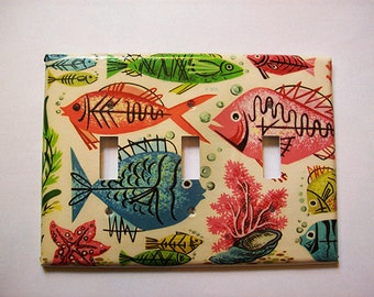 atomic fish triple switch plate retro Fifties vintage mid century nautical kitsch light switch cover