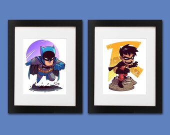 Batman and Robin Wall Art - Set of 2 Prints