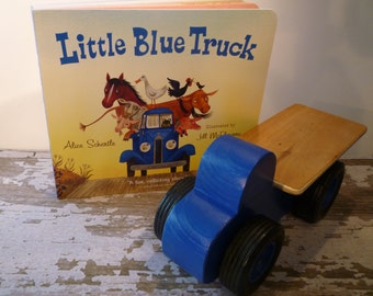 Toy Blue Flatbed Truck and Little Blue Truck Book - Handcrafted Wood Toy Flatbed Truck Dark Blue with Little Blue Truck Book