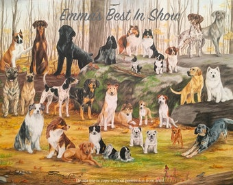 Snobbiest Dogs in the Land - Fine Art Giclee Print by Emma Laurel Tinklenberg of Emmasbestinshow - Dog Art Pack of Dogs Pet Portrait Pencil