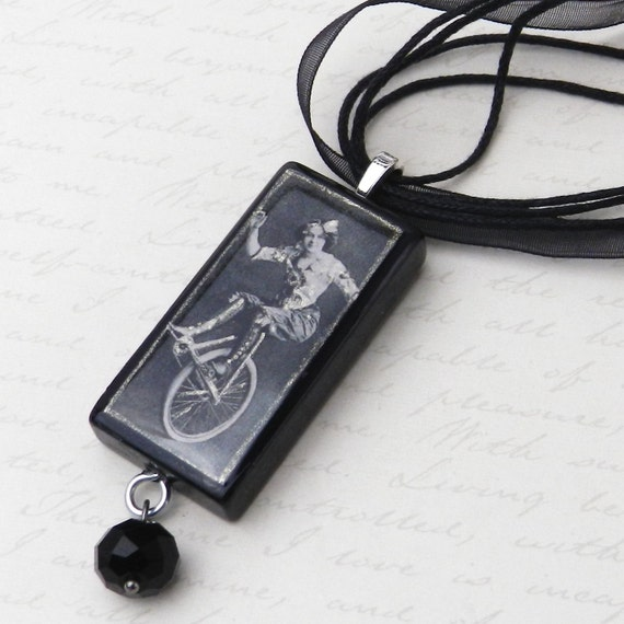 Turn of the Century Burlesque Unicycle Performer Vintage Image Domino Pendant JF2159