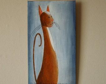 "Original Cat Painting for Sale ""Musing Cat"", acrylic"