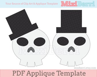 Mr. Skull Applique Pattern PDF Applique Template in 3 Sizes Instant Download