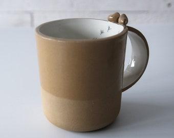 spice brown pottery mug, natural earthy tone ceramics, stoneware cup, large coffee mug, coupe, tasse, Kaffeebecher, tasse de café