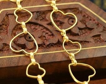 1 mt 3,3 feet 14 mm 9 mm heart shape gold plated Brass link Chain 821