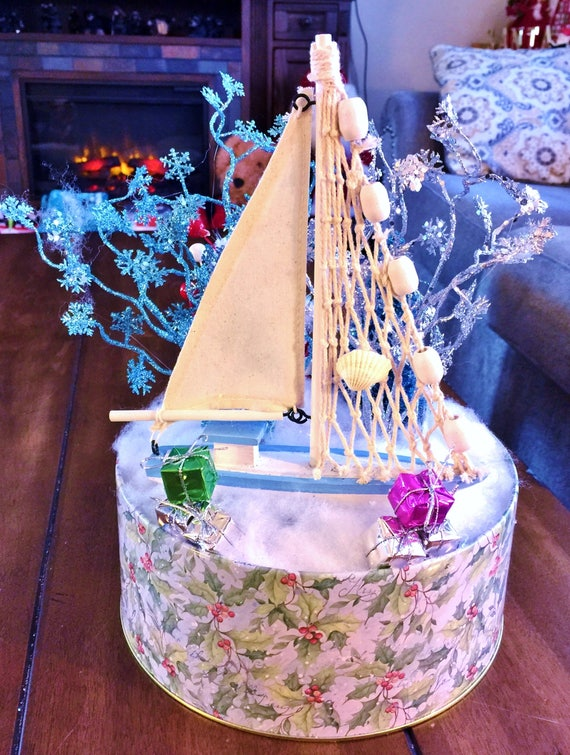 Blue White Sail Boat Tree Candy Canes - Winter Holiday Christmas Centerpiece