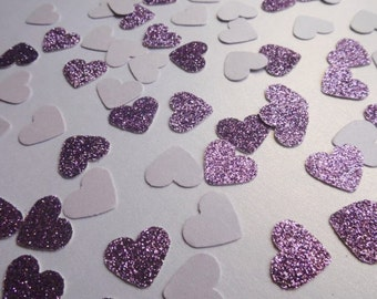 Lavender Glitter Heart Confetti, Wedding Reception Decoration, Table Scatter, Paper Confetti, Bridal Shower Decor