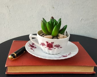 Upcycled Vintage floral Tea Cup Planter With Drainage Hole and Saucer