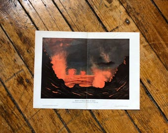 1900 VOLCANO  ERUPTING LAVA lithograph - original antique print of Kilauea hawaii volcano