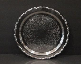 "Silver Plate Tray / 12 1/2"" / Oneida Silver / Serving Tray / Silverplate Tray / Wedding / Bridal Shower"