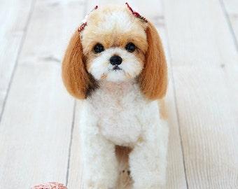 SALES 30% OFF Realistic Dog Series Needle Felt Hamanaka wool felt Kit Shih Tzu --- Japanese Craft Kit H441-442 (16.5cm)