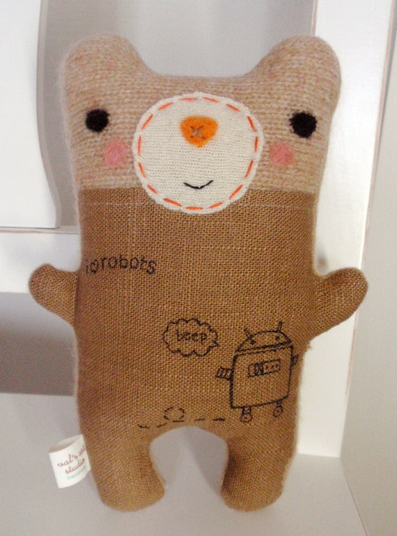 Tattooed robot lover friendly stuffed plush handmade needle for Tattoo shops in reading pa