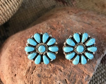 Navajo Cluster Turquoise & Sterling Silver Post Earrings Signed