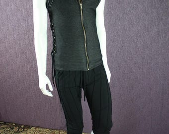 NEW!!!  Mens Dance Vest in Organic Black Stretch Denim Fabric with Shoulder and Back Embellishments and Adjustable lacing