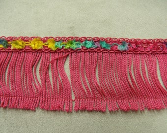 Polyester fringe pink 4.5 cm - MULTICOLOR flowers
