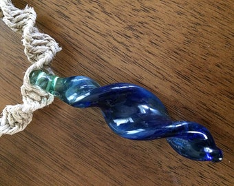Hemp Necklace with Blue Boro Glass Spiral Pendant