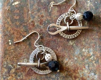 Vintage watch key earrings