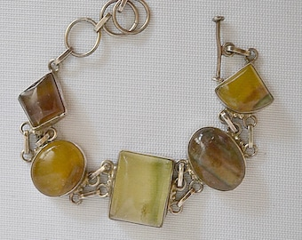 Vintage Chunky Silver and Agate Stone Bracelet Open Back Settings