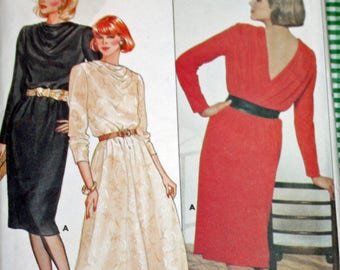 """Vintage, 1980s, Sewing Pattern, Butterick 6757, Misses', Dress, Size 10, Two Lengths, Bust 32 1/2"""", 1980s Pattern, OLD2NEWMEMORIES"""
