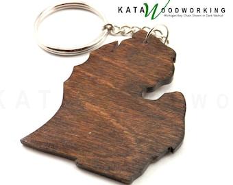 Michigan shaped wood key chain - Handmade