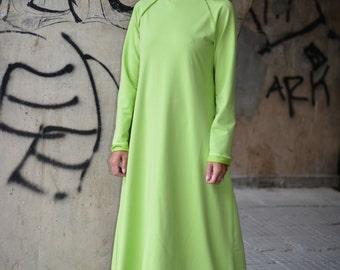 Maxi Dress, Extravagant Long Dress, Daywear Dress, Long Gras Green Dress, Maxi Kaftan, Dress by EUGfashion - DR0082W2