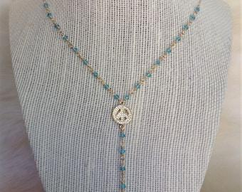Aqua peace sign Y-necklace