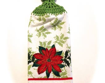 Poinsettia Hand Towel With Grass Green Crocheted Top