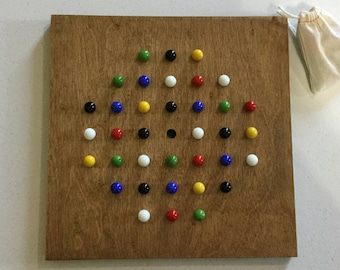 """11"""", Solitaire, Game Board, Wood, Glass Marbles, Wooden, Game Boards, Marble Game, Marble Jump, Marbles, Marble Game,"""