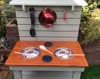 Mud Kitchen With Hobs Children's Outdoor Play Furniture - Hand made from Wood - Messy Sensory Play