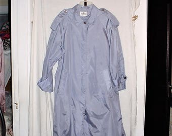 Vintage 90s Ladies Blue Gray Spring Raincoat Nylon sz 12 Totes