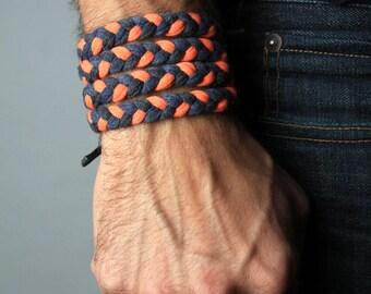Men's Bracelet, Braided Bracelet, Gift for Men, Boyfriend Gift, Mens Gift, Festival Clothing, Burning Man, Husband Gift, Wrap Bracelet, Mens