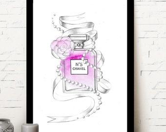 Chanel N5/fashion prints/illustration Chanel/Paris/illustration mode/affiche mode
