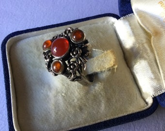 Antique Art Nouveau Ring Silver  Sterling Flowers and Carnelian Beads