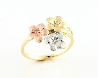 14k tricolor plumeria ring