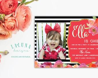 Black and White Stripe Birthday Invitation with photo, Floral Birthday Invitation, Gold Glitter Invitation, Girly Birthday Invite